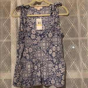 MK print tank with shoulder tie and elastic waist